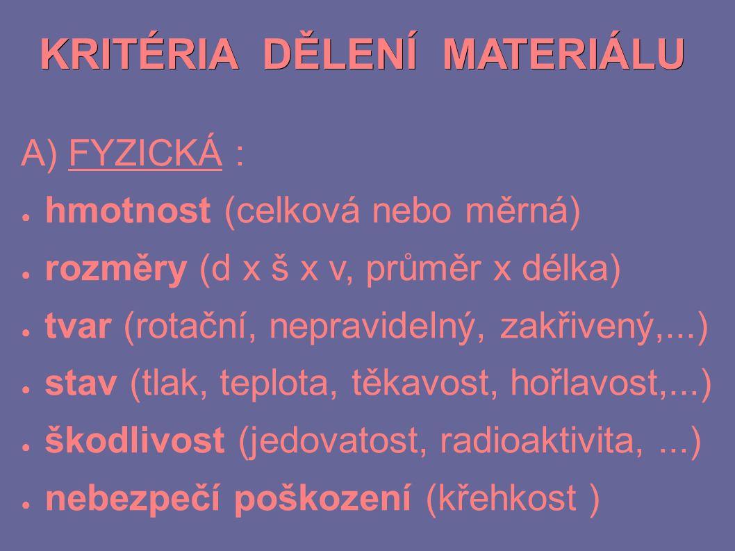 KRITÉRIA DĚLENÍ MATERIÁLU A) FYZICKÁ : ● hmotnost (celková nebo měrná) ● rozměry (d x š x v, průměr x délka) ● tvar (rotační, nepravidelný, zakřivený,...) ● stav (tlak, teplota, těkavost, hořlavost,...) ● škodlivost (jedovatost, radioaktivita,...) ● nebezpečí poškození (křehkost )