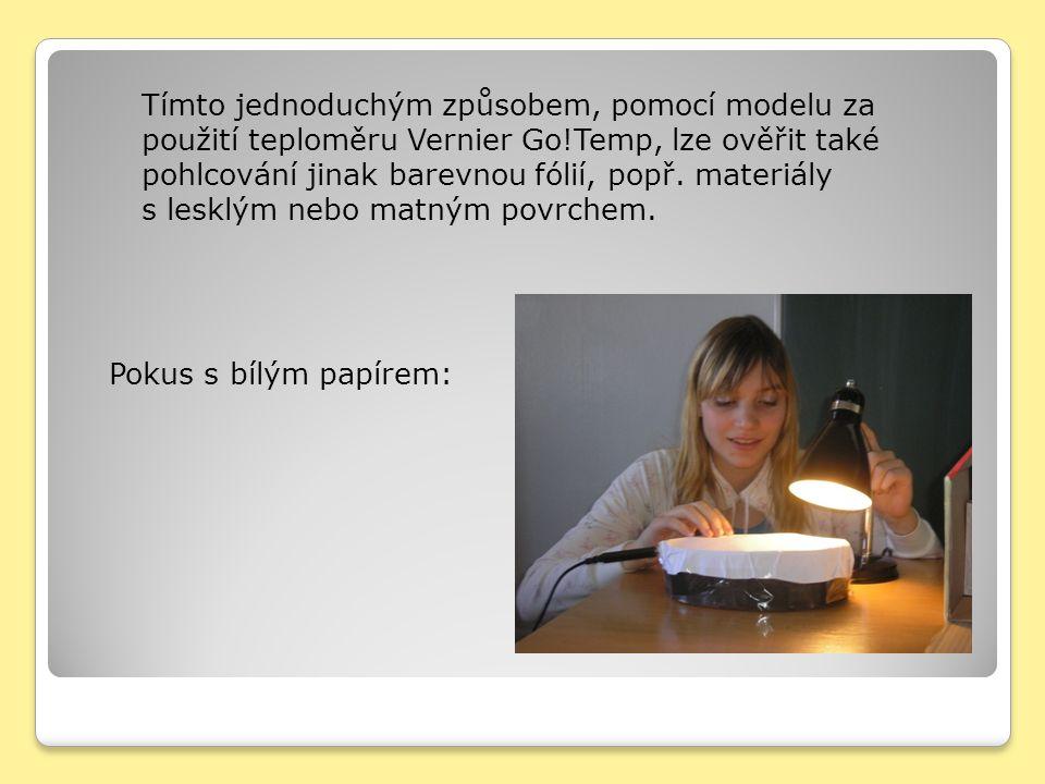 Pokus s bílým papírem: Tímto jednoduchým způsobem, pomocí modelu za použití teploměru Vernier Go!Temp, lze ověřit také pohlcování jinak barevnou fólií, popř.