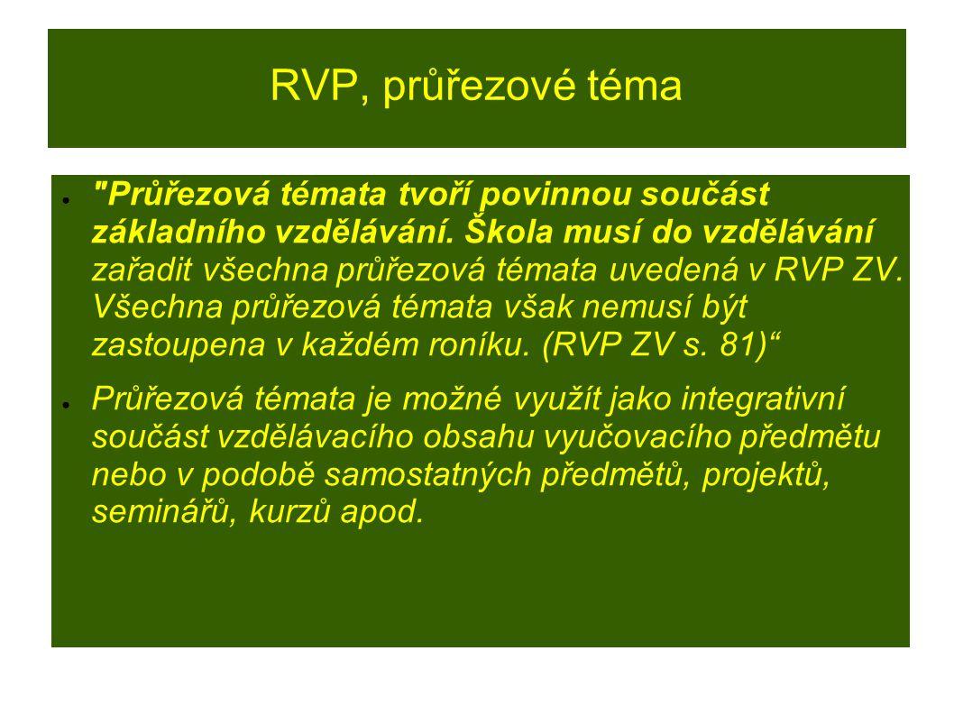 RVP, průřezové téma ● Průřezová témata tvoří povinnou součást základního vzdělávání.