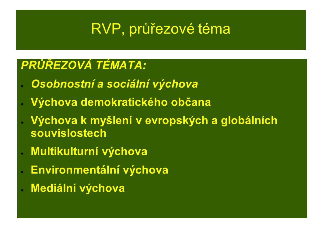 RVP, průřezové téma PRŮŘEZOVÁ TÉMATA: ● Osobnostní a sociální výchova ● Výchova demokratického občana ● Výchova k myšlení v evropských a globálních so