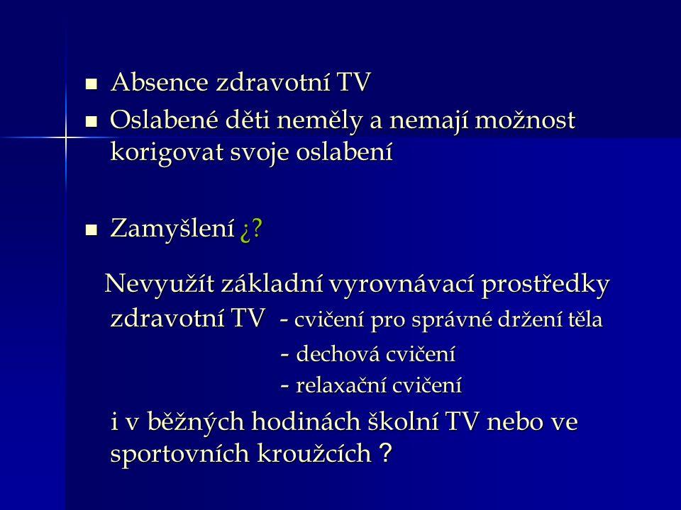 PROBLÉM 1) Jsou na školách zřizovány hodiny zdravotní TV v rámci výuky.