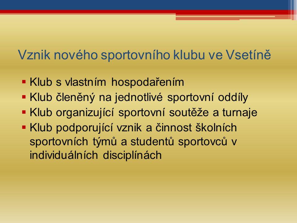 Vznik nového sportovního klubu ve Vsetíně  Klub s vlastním hospodařením  Klub členěný na jednotlivé sportovní oddíly  Klub organizující sportovní soutěže a turnaje  Klub podporující vznik a činnost školních sportovních týmů a studentů sportovců v individuálních disciplínách