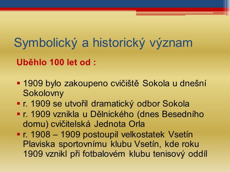 Symbolický a historický význam Uběhlo 100 let od :  1909 bylo zakoupeno cvičiště Sokola u dnešní Sokolovny  r.