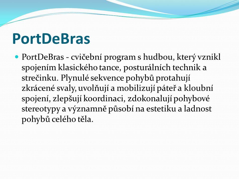 PortDeBras PortDeBras - cvičební program s hudbou, který vznikl spojením klasického tance, posturálních technik a strečinku. Plynulé sekvence pohybů p