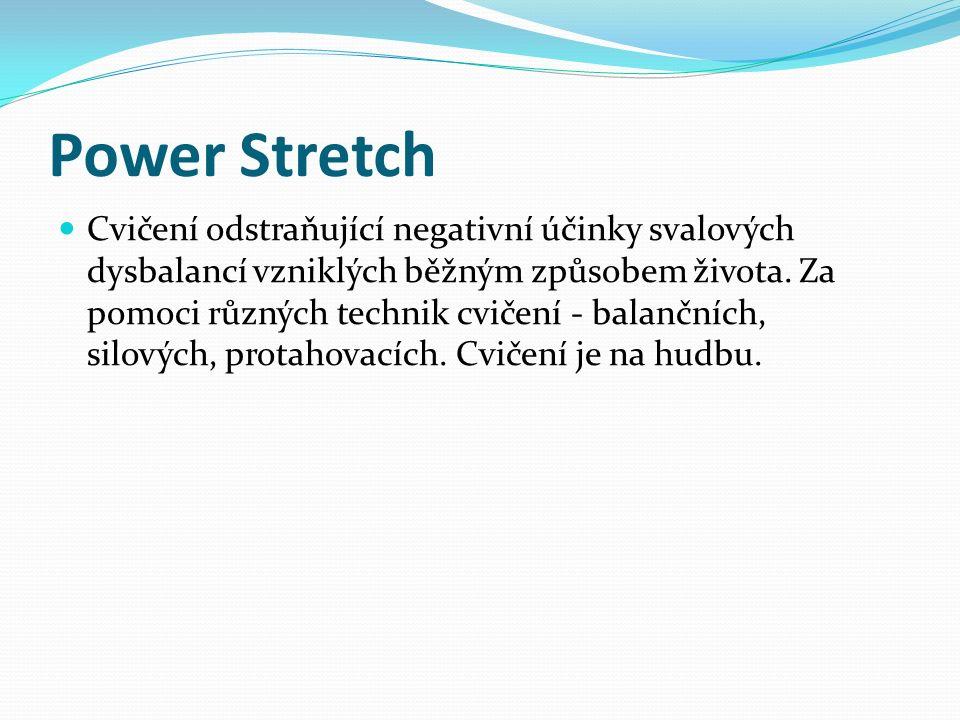 Power Stretch Cvičení odstraňující negativní účinky svalových dysbalancí vzniklých běžným způsobem života. Za pomoci různých technik cvičení - balančn