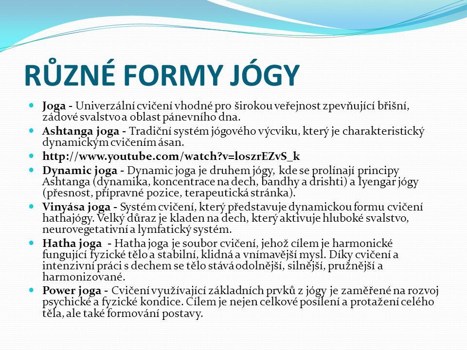 RŮZNÉ FORMY JÓGY Joga - Univerzální cvičení vhodné pro širokou veřejnost zpevňující břišní, zádové svalstvo a oblast pánevního dna.