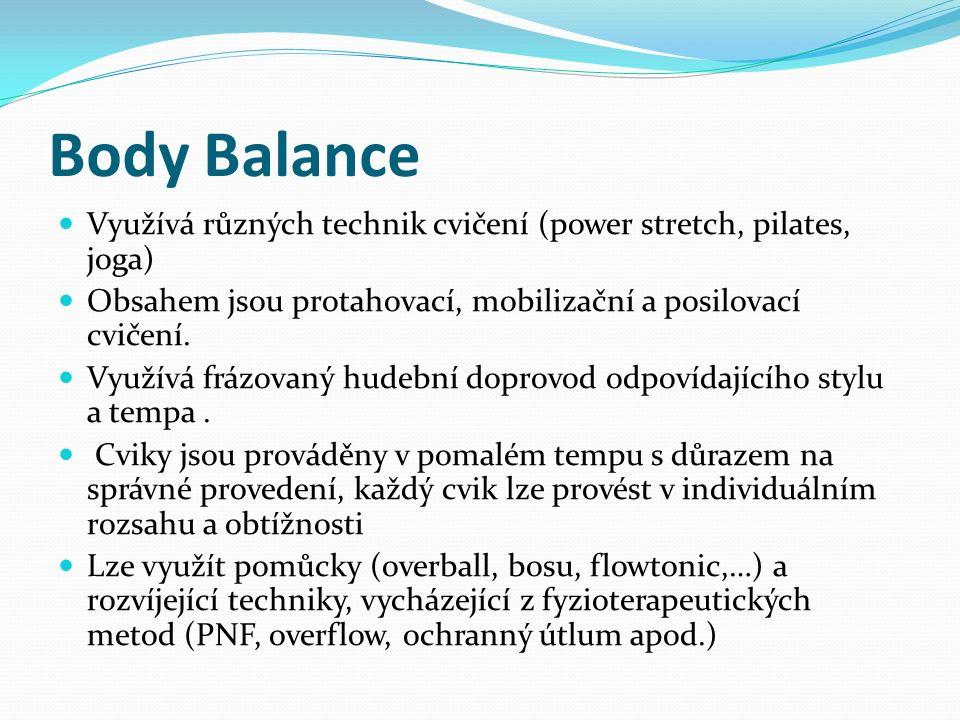 Body Balance Využívá různých technik cvičení (power stretch, pilates, joga) Obsahem jsou protahovací, mobilizační a posilovací cvičení. Využívá frázov