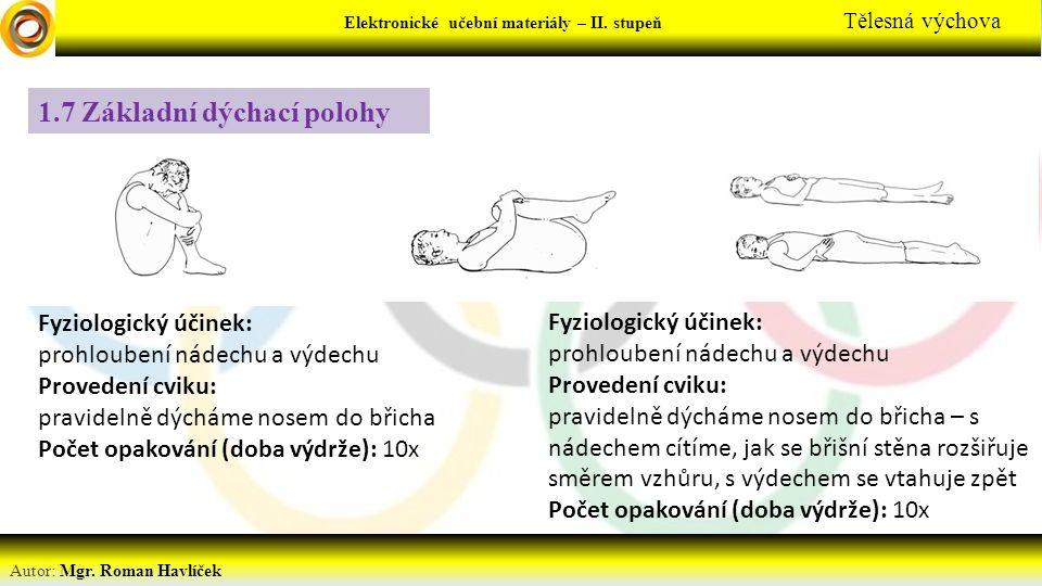 Elektronické učební materiály - … stupeň Předmět Autor: Mgr. Roman Havlíček Elektronické učební materiály – II. stupeň Tělesná výchova 1.7 Základní dý