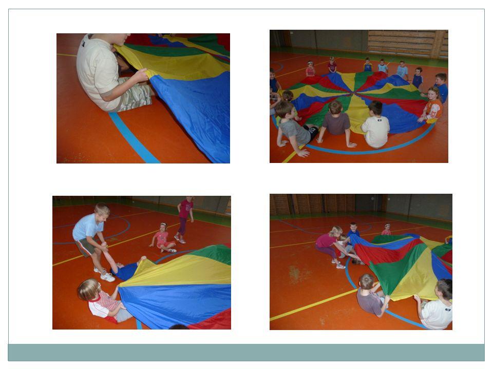 Hra č.2  Děti si stoupnou, uchopí padák oběma rukama a předpaží.