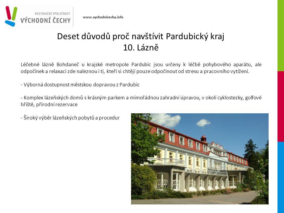 www.vychodnicechy.info Léčebné lázně Bohdaneč u krajské metropole Pardubic jsou určeny k léčbě pohybového aparátu, ale odpočinek a relaxaci zde nalezn