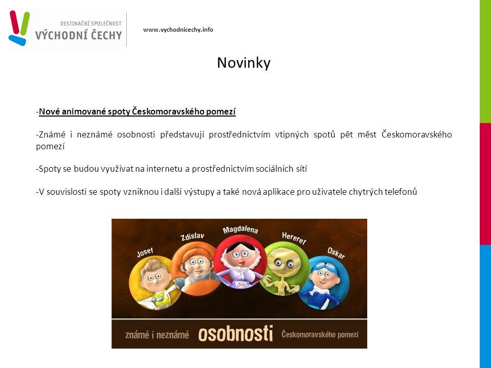 www.vychodnicechy.info -Nové animované spoty Českomoravského pomezí -Známé i neznámé osobnosti představují prostřednictvím vtipných spotů pět měst Čes