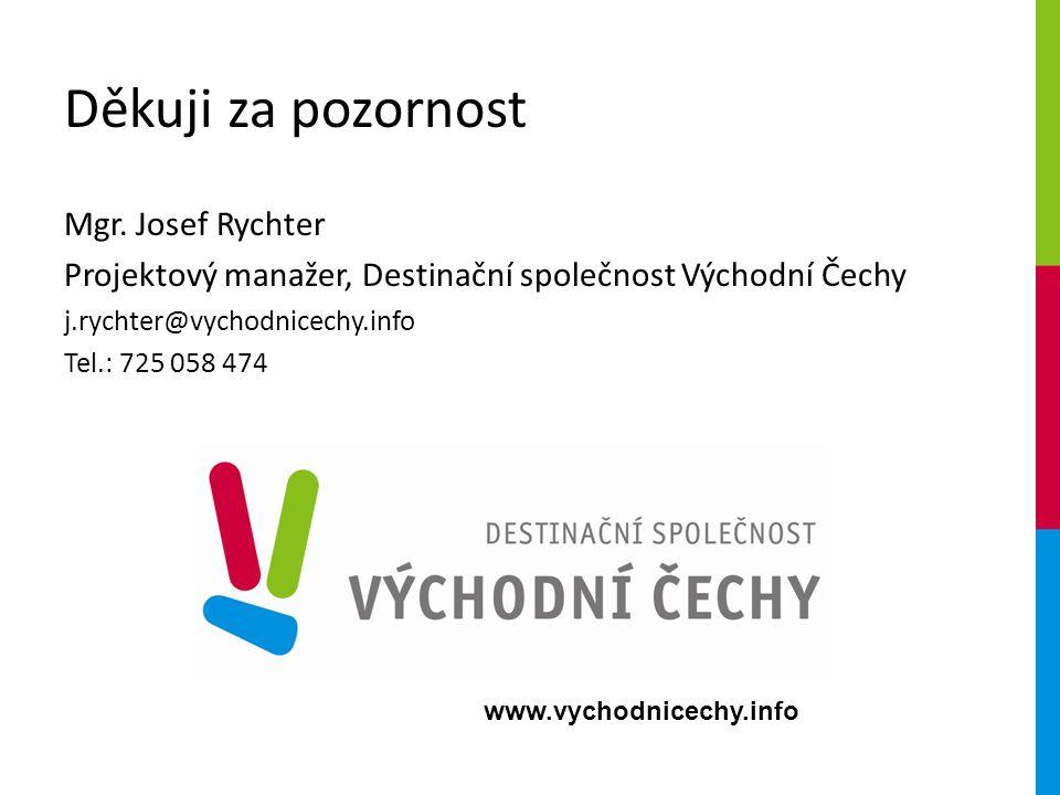 www.vychodnicechy.info Děkuji za pozornost Mgr. Josef Rychter Projektový manažer, Destinační společnost Východní Čechy j.rychter@vychodnicechy.info Te