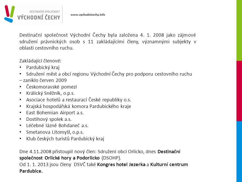 Destinační společnost Východní Čechy byla založena 4. 1. 2008 jako zájmové sdružení právnických osob s 11 zakládajícími členy, významnými subjekty v o