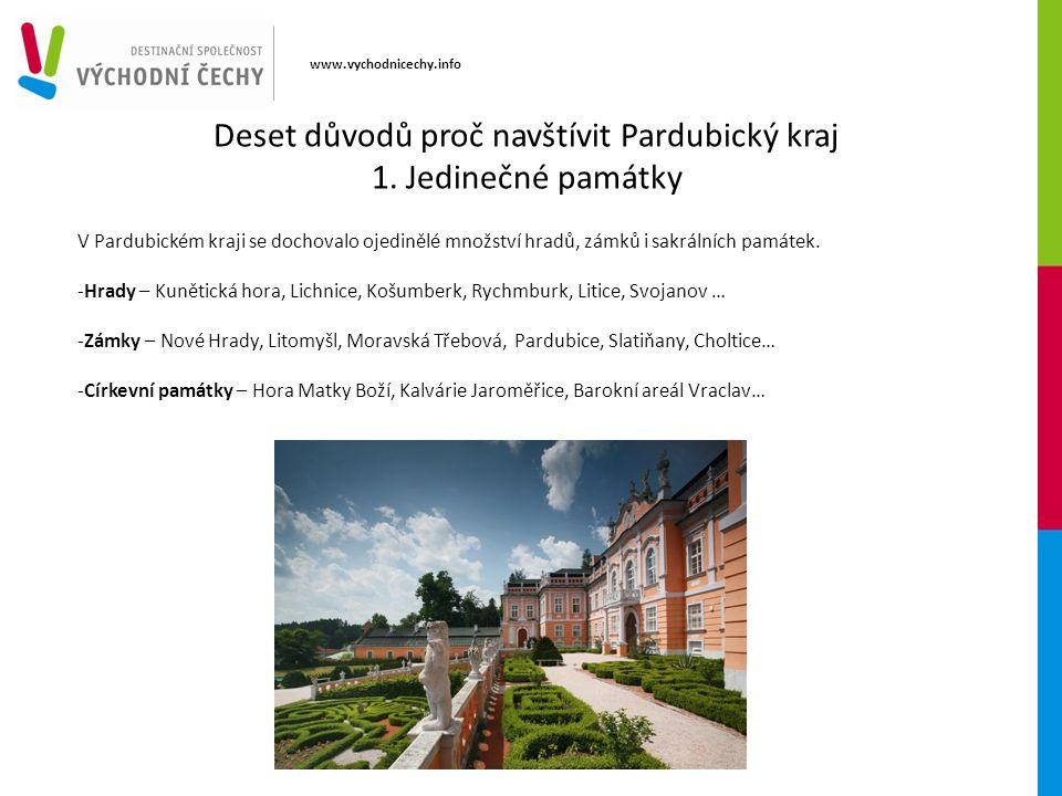 www.vychodnicechy.info V Pardubickém kraji se dochovalo ojedinělé množství hradů, zámků i sakrálních památek. -Hrady – Kunětická hora, Lichnice, Košum