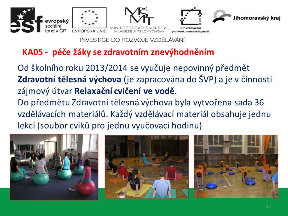 11 Od školního roku 2013/2014 se vyučuje nepovinný předmět Zdravotní tělesná výchova (je zapracována do ŠVP) a je v činnosti zájmový útvar Relaxační cvičení ve vodě.