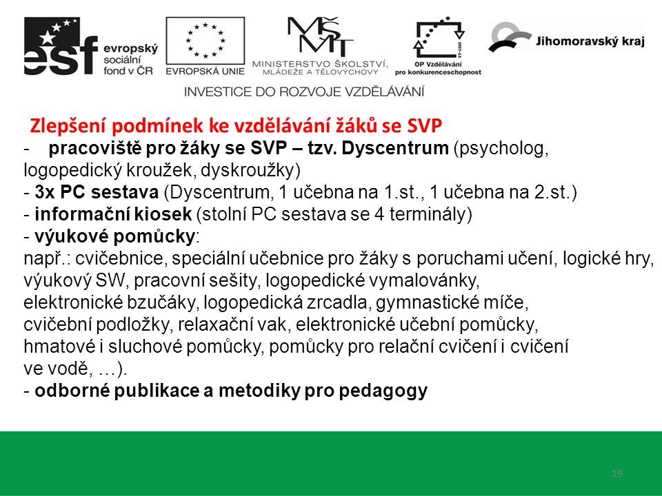 19 Zlepšení podmínek ke vzdělávání žáků se SVP -pracoviště pro žáky se SVP – tzv. Dyscentrum (psycholog, logopedický kroužek, dyskroužky) - 3x PC sest
