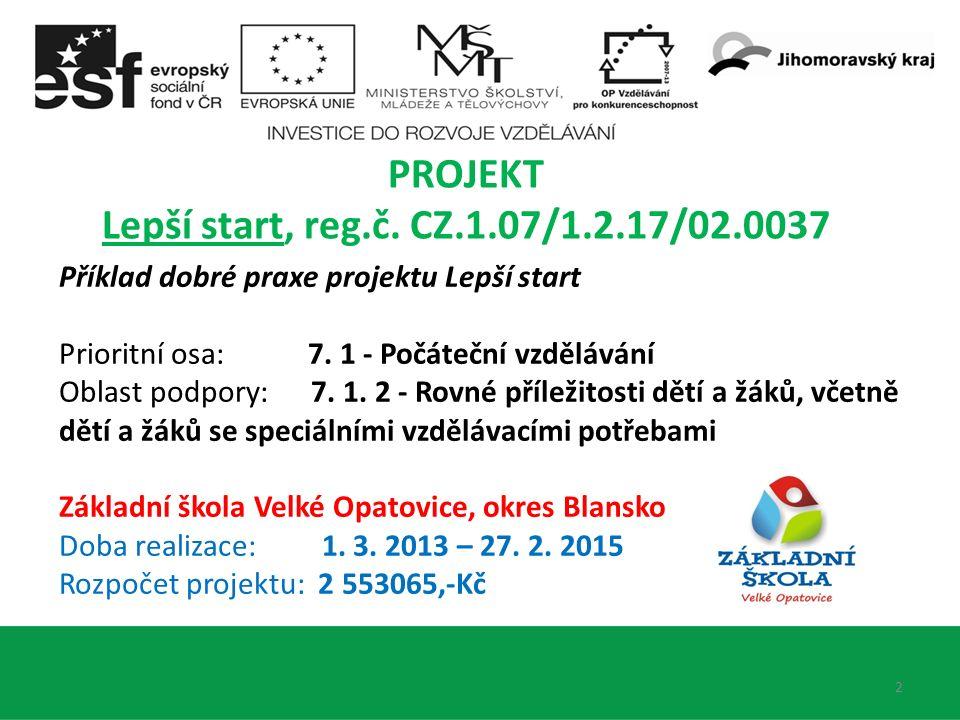 2 PROJEKT Lepší start, reg.č. CZ.1.07/1.2.17/02.0037 Příklad dobré praxe projektu Lepší start Prioritní osa: 7. 1 - Počáteční vzdělávání Oblast podpor