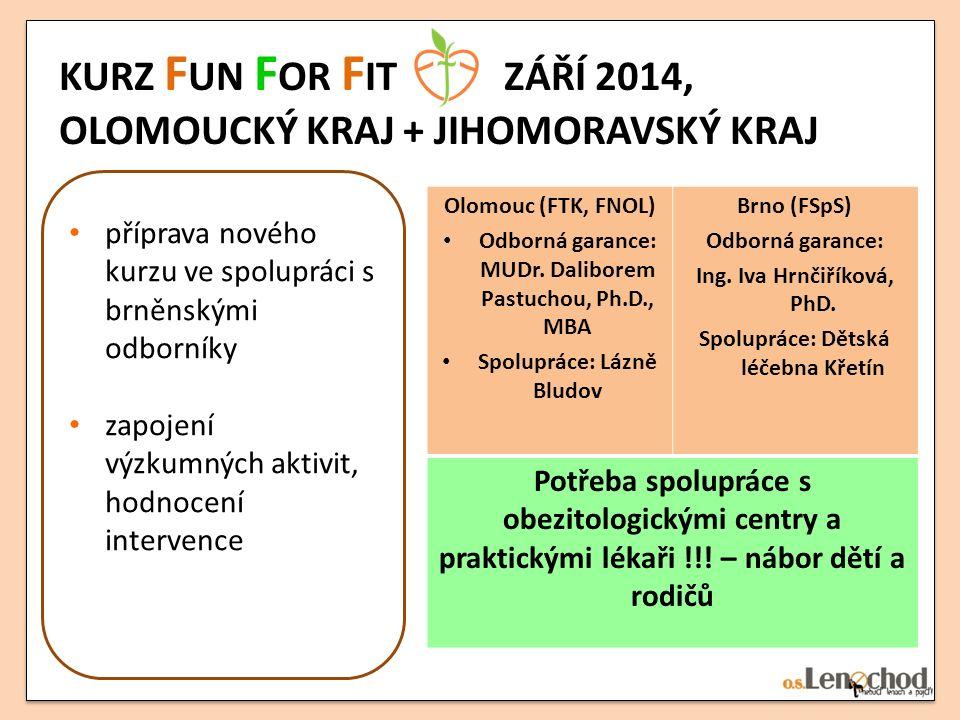 KURZ F UN F OR F IT ZÁŘÍ 2014, OLOMOUCKÝ KRAJ + JIHOMORAVSKÝ KRAJ příprava nového kurzu ve spolupráci s brněnskými odborníky zapojení výzkumných aktiv