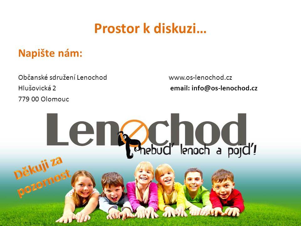 Prostor k diskuzi… Napište nám: Občanské sdružení Lenochod www.os-lenochod.cz Hlušovická 2 email: info@os-lenochod.cz 779 00 Olomouc