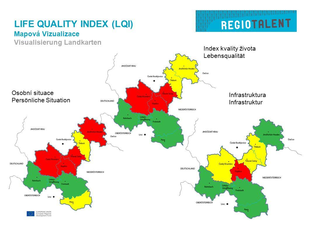 LIFE QUALITY INDEX (LQI) Mapová Vizualizace Visualisierung Landkarten Osobní situace Persönliche Situation Infrastruktura Infrastruktur Index kvality života Lebensqualität