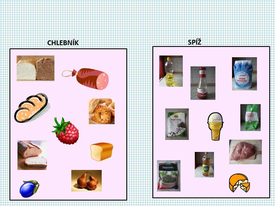 Uvedené potraviny zařaď tam, kam patří.Na slova klikej.