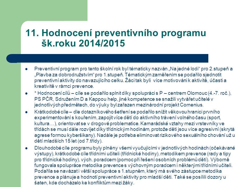 """11. Hodnocení preventivního programu šk.roku 2014/2015 Preventivní program pro tento školní rok byl tématicky nazván """"Na jedné lodi"""" pro 2.stupeň a """"P"""