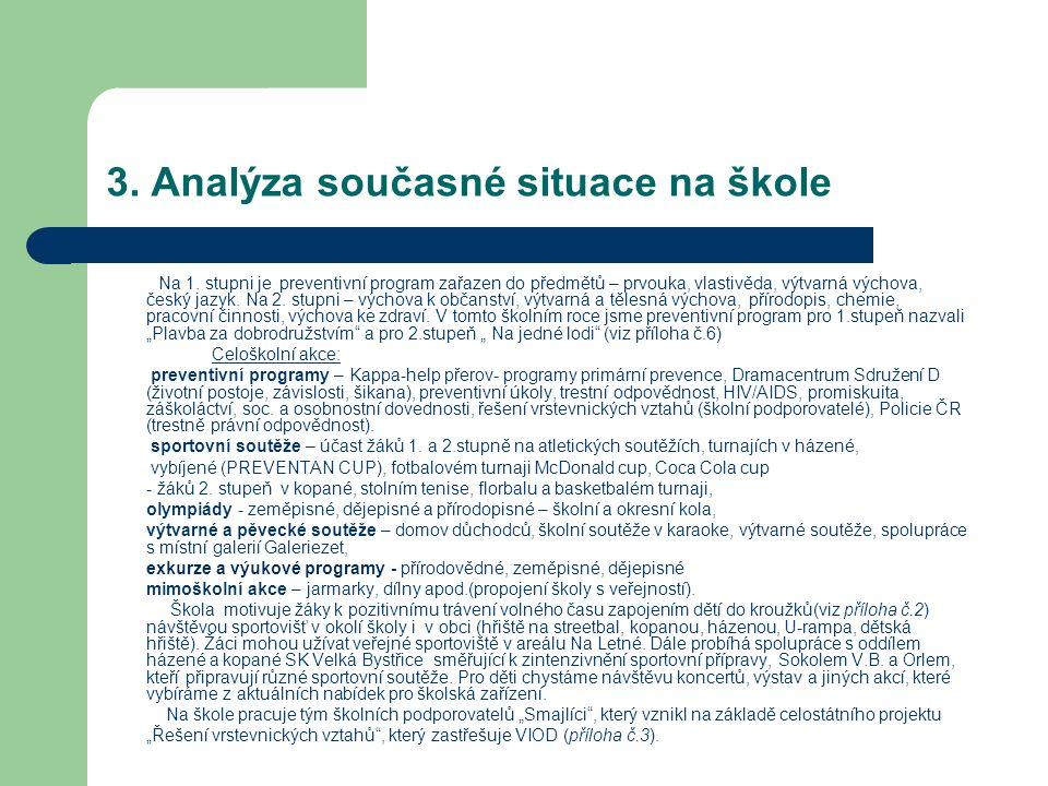 3. Analýza současné situace na škole Na 1. stupni je preventivní program zařazen do předmětů – prvouka, vlastivěda, výtvarná výchova, český jazyk. Na