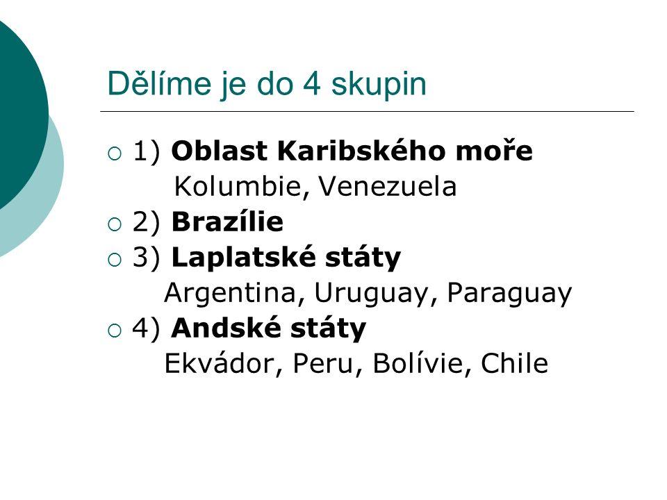 Dělíme je do 4 skupin  1) Oblast Karibského moře Kolumbie, Venezuela  2) Brazílie  3) Laplatské státy Argentina, Uruguay, Paraguay  4) Andské státy Ekvádor, Peru, Bolívie, Chile