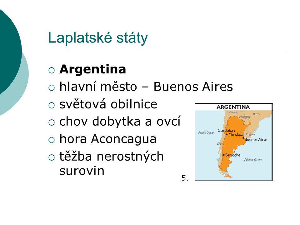 Laplatské státy  Argentina  hlavní město – Buenos Aires  světová obilnice  chov dobytka a ovcí  hora Aconcagua  těžba nerostných surovin 5.