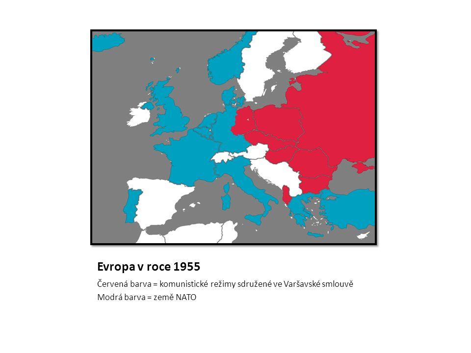 Evropa v roce 1955 Červená barva = komunistické režimy sdružené ve Varšavské smlouvě Modrá barva = země NATO