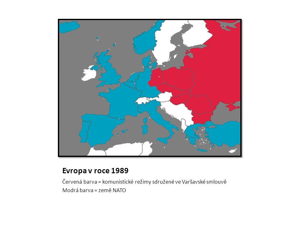Evropa v roce 1989 Červená barva = komunistické režimy sdružené ve Varšavské smlouvě Modrá barva = země NATO