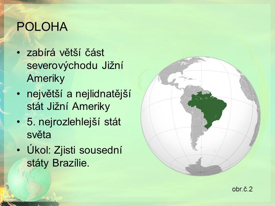 POLOHA zabírá větší část severovýchodu Jižní Ameriky největší a nejlidnatější stát Jižní Ameriky 5.
