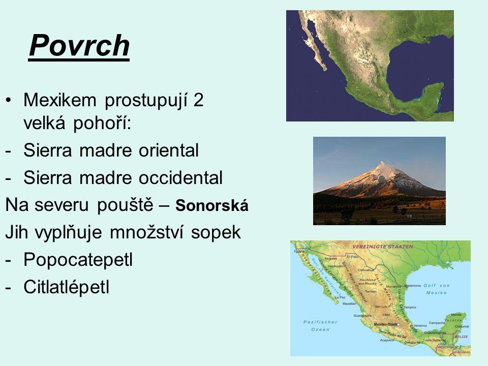 Povrch Mexikem prostupují 2 velká pohoří: -Sierra madre oriental -Sierra madre occidental Na severu pouště – Sonorská Jih vyplňuje množství sopek -Popocatepetl -Citlatlépetl