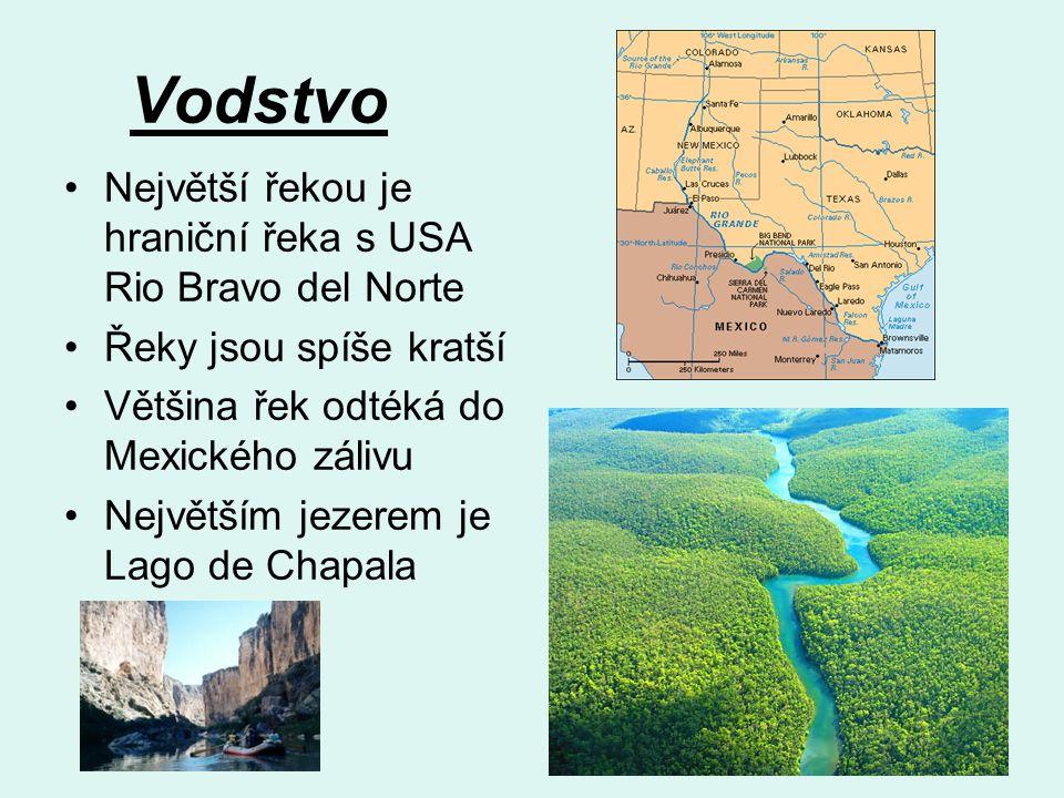 Vodstvo Největší řekou je hraniční řeka s USA Rio Bravo del Norte Řeky jsou spíše kratší Většina řek odtéká do Mexického zálivu Největším jezerem je Lago de Chapala