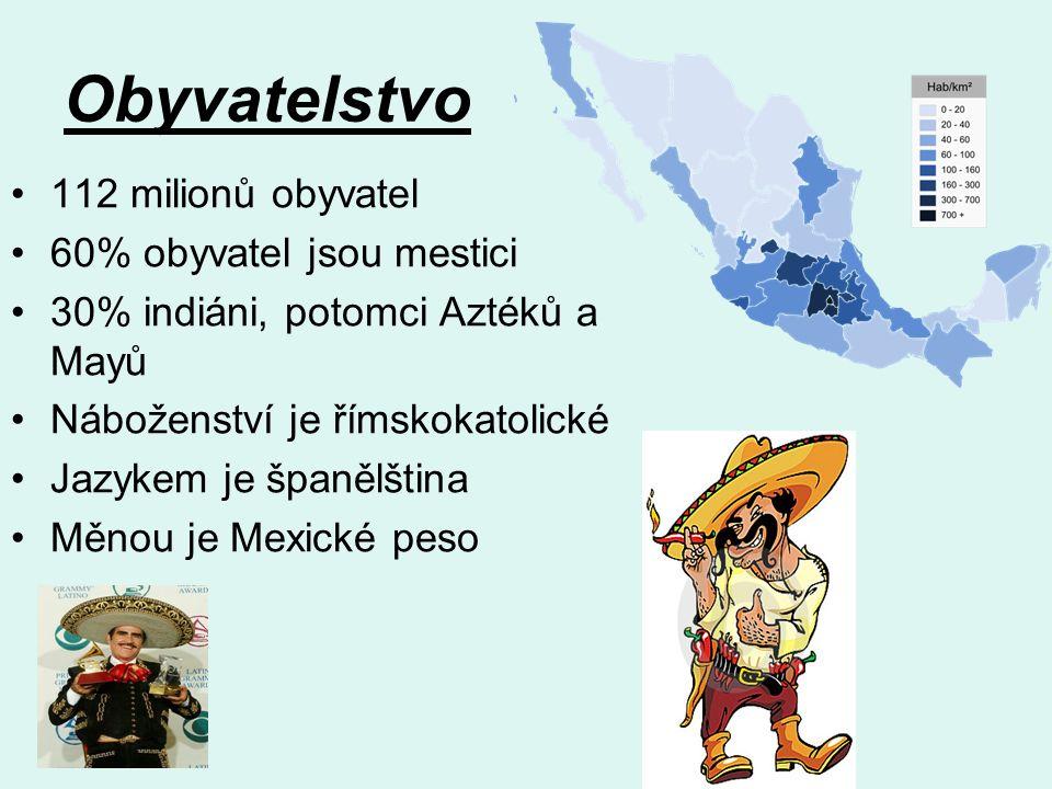 Obyvatelstvo 112 milionů obyvatel 60% obyvatel jsou mestici 30% indiáni, potomci Aztéků a Mayů Náboženství je římskokatolické Jazykem je španělština Měnou je Mexické peso