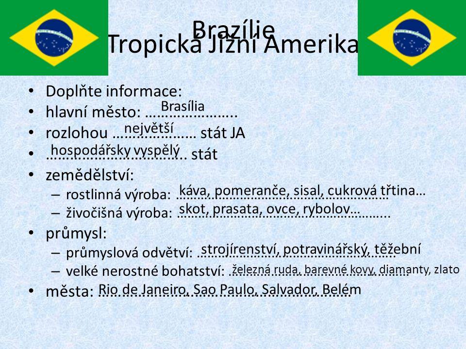 Tropická Jižní Amerika Doplňte informace: hlavní město: …………………..