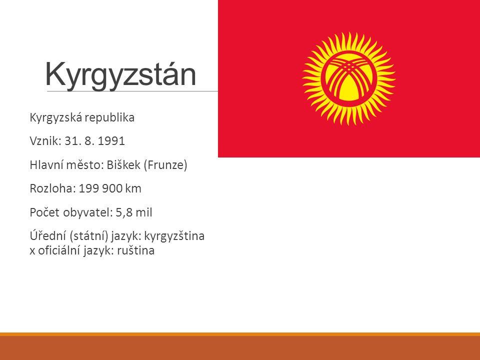 Kyrgyzstán Kyrgyzská republika Vznik: 31. 8.