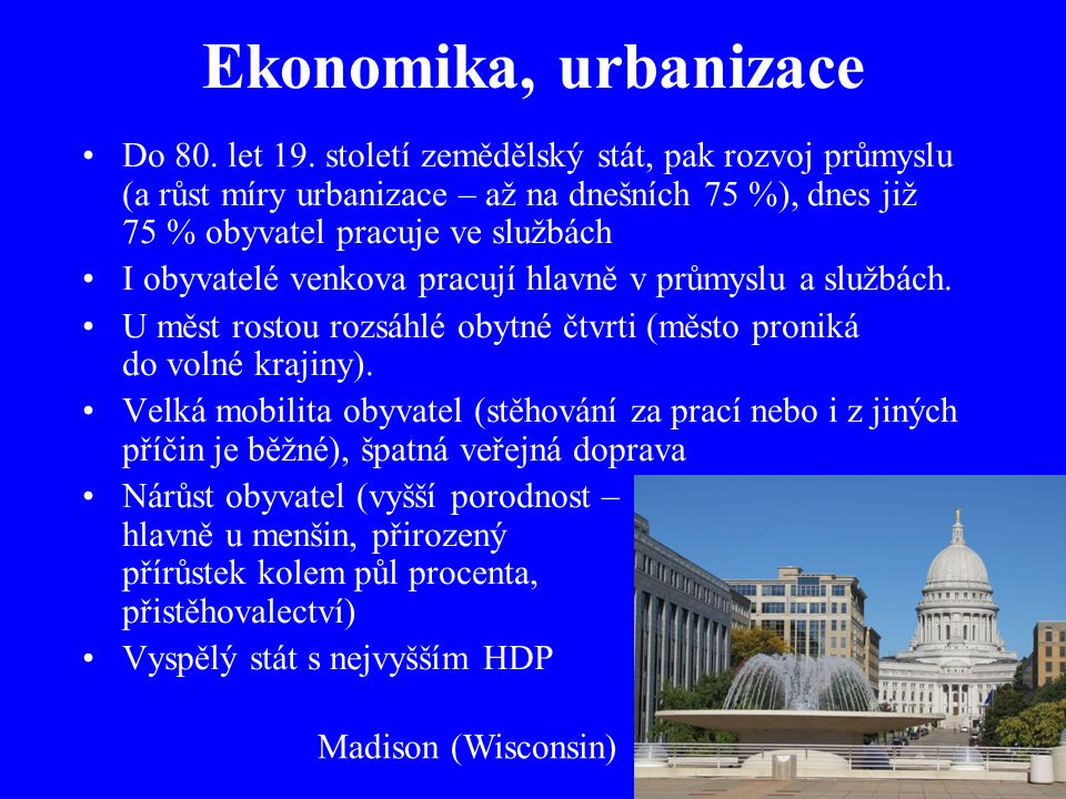 Ekonomika, urbanizace Do 80. let 19.