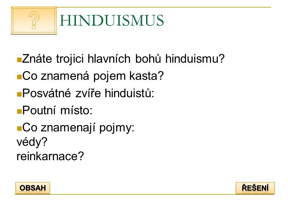 HINDUISMUS Znáte trojici hlavních bohů hinduismu? Co znamená pojem kasta? Posvátné zvíře hinduistů: Poutní místo: Co znamenají pojmy: védy? reinkarnac
