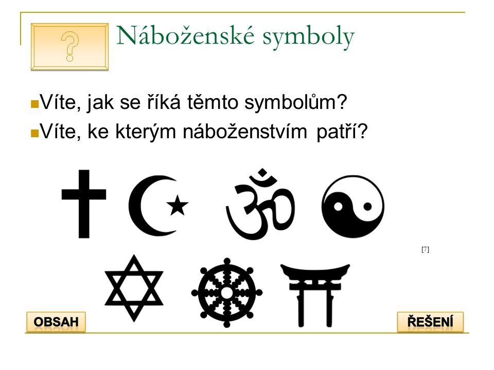 Náboženské symboly Víte, jak se říká těmto symbolům Víte, ke kterým náboženstvím patří [7][7]
