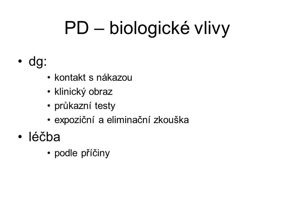 PD – biologické vlivy dg: kontakt s nákazou klinický obraz průkazní testy expoziční a eliminační zkouška léčba podle příčiny