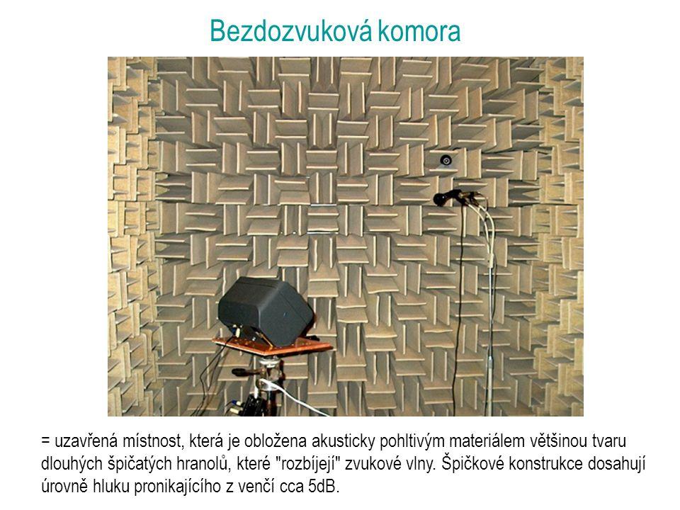 Bezdozvuková komora = uzavřená místnost, která je obložena akusticky pohltivým materiálem většinou tvaru dlouhých špičatých hranolů, které rozbíjejí zvukové vlny.