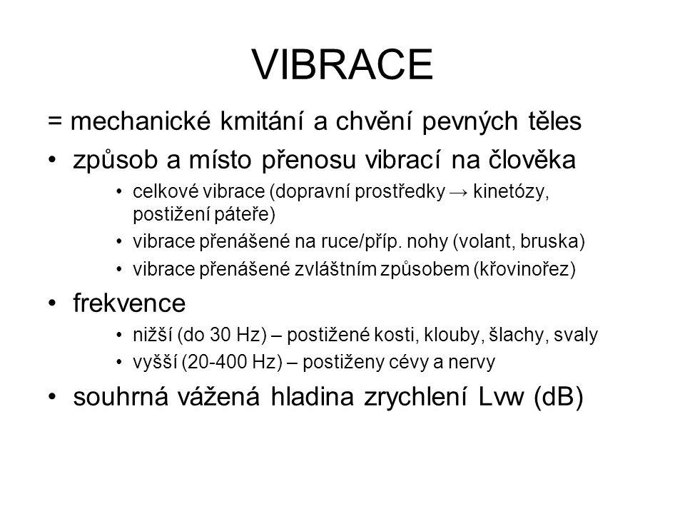 VIBRACE = mechanické kmitání a chvění pevných těles způsob a místo přenosu vibrací na člověka celkové vibrace (dopravní prostředky → kinetózy, postižení páteře) vibrace přenášené na ruce/příp.