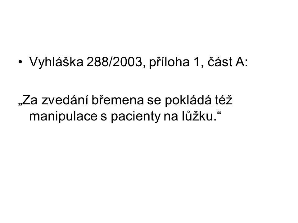 """Vyhláška 288/2003, příloha 1, část A: """"Za zvedání břemena se pokládá též manipulace s pacienty na lůžku."""