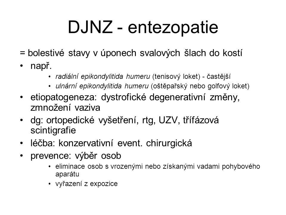 DJNZ - entezopatie = bolestivé stavy v úponech svalových šlach do kostí např.