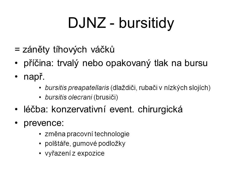 DJNZ - bursitidy = záněty tíhových váčků příčina: trvalý nebo opakovaný tlak na bursu např.