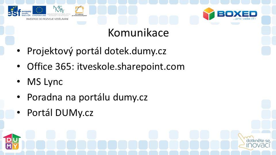 Komunikace Projektový portál dotek.dumy.cz Office 365: itveskole.sharepoint.com MS Lync Poradna na portálu dumy.cz Portál DUMy.cz