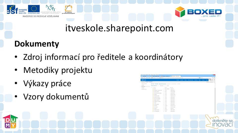 itveskole.sharepoint.com Dokumenty Zdroj informací pro ředitele a koordinátory Metodiky projektu Výkazy práce Vzory dokumentů