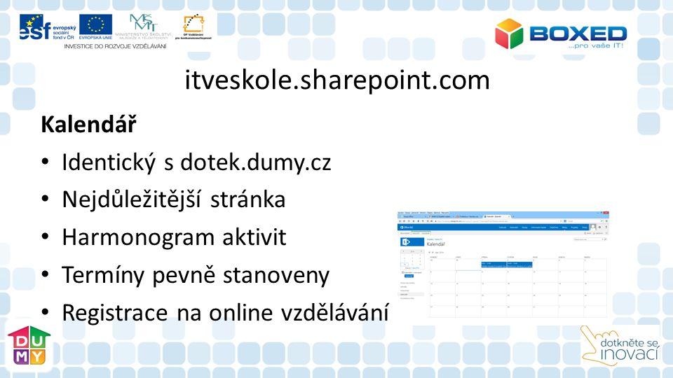itveskole.sharepoint.com Kalendář Identický s dotek.dumy.cz Nejdůležitější stránka Harmonogram aktivit Termíny pevně stanoveny Registrace na online vzdělávání