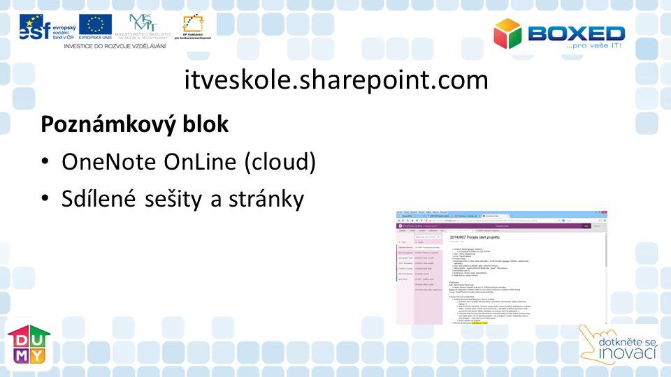 itveskole.sharepoint.com Poznámkový blok OneNote OnLine (cloud) Sdílené sešity a stránky